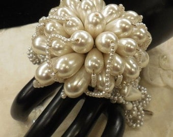 Vintage Fazio Large Wired Faux Pearl and Crystal Bracelet