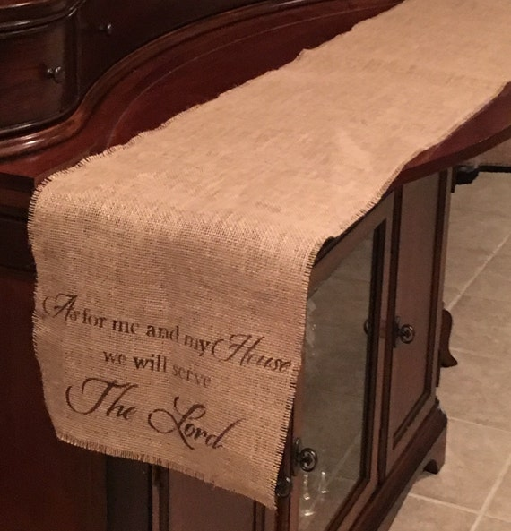 Primitive Natural Burlap Table Runner As For Me And My House We Will Serve The Lord Handmade Rustic Country Scripture Gift Easter Decor NEW