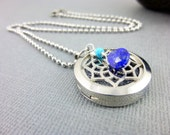 Aromatherapy Necklace, Lapis & Turquoise Aromatherapy Locket. Essential Oil Diffuser, Gemstone and Stainless Steel Diffuser Pendant
