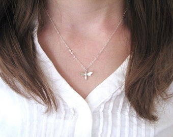 Silver Bee Necklace, Bug Necklace, Insect Necklace, Dainty Silver Necklace, Tiny Silver Necklace  - Sterling Silver or Gold Vermeil