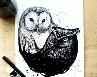 Night and Day Owls - Art Print