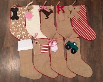 Monogrammed Burlap Stockings