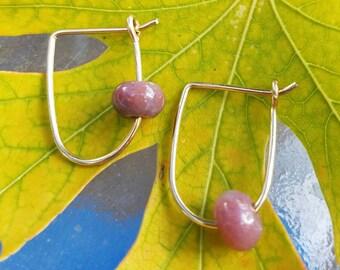 Pink Agate and 14k Gold-filled Petite Hoop Earrings