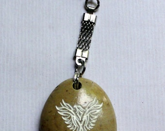 Natural Engraved  Beach Stone Keychain  Phenix Gift  Israel Gift for her/him Gift for men/women