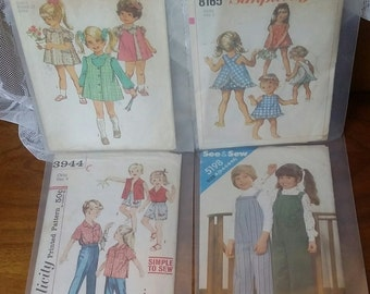 Vintage sewing patterns 4 children's clothing patterns size range 3-6x