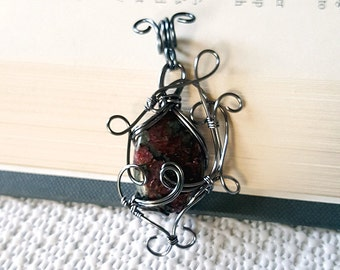 Wire Wrapped Eudialyte in Grey Pendant