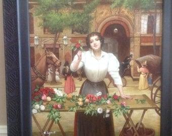 Original oil painting, signed R Legeault, 1900 street scene