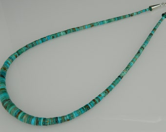 """Native American Navajo Green Turquoise Graduated Heishi Sterling Silver Necklace 19 5/8"""""""