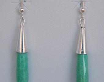 Native American Navajo Green Turquoise Sterling Silver Cone Handmade Earrings