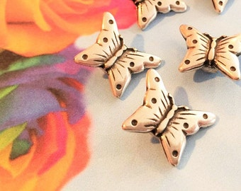 SALE: 2 Small Flat Butterfly Sliders for 5mm or 6mm Flat Leather or Multistrand Leather Bracelets