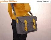 Winter Sale 40% 13 MacBook Pro Felt laptop bag with a pockets, satchel gray with yellow,  Laptop Bag Messenger Bag