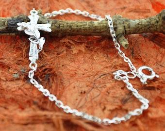 Trendy Side Cross Bracelet - 100% Sterling Silver- Gift Idea, Religious Gift- Free Shipping!!!!