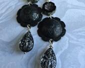 Black Brass Dome Earrings,Dangle Earrings,Etched Glass Earrings,Antique Metal Earrings