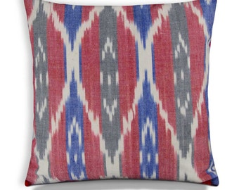 Red and Blue Ikat PomPom Pillow Cover - Outdoor Ikat Pillow Cover Custom Size - Outdoor Throw Pillow