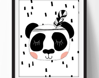 Panda Wall Art, Minimalist Home Art, Minimalist Printable, Panda Nursery Printable, Minimalist Printable, Printable Home Decor Quote