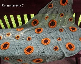 Crochet Sunflowers Baby Blanket / Crochet Baby Crib Blanket / Granny Square Crochet Blanket / Baby Afghan