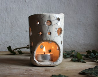 Raku ceramic candle holder white