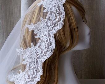 Car Bone Lace Spanish Veil Wedding Veil Bridal Veil Ivory