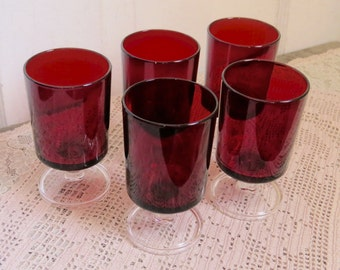 Ruby Red Luminarc Cavalier Wine Glasses Vintage Set of Five Made in France Art Deco Christmas Decor Mid Century Country Cottage
