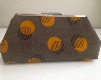Daiwabo Japanese Linen Clutch-Brown-Orange-Six Inch Frame