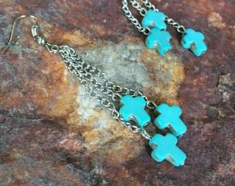Boho Turquoise Cross Dangle Earrings