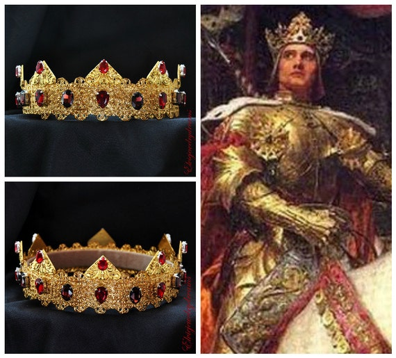 GOLD Red Crown Male Crown For Royal King by Elviejewelrydreams