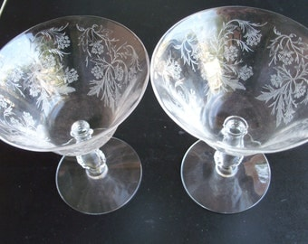 Etched Crystal Stemware Set Of Two Glasses