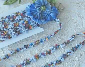 Blue and Multi colored Florette Ribbon Trim - Rayon- Crafts, Sewing, Dolls, Bears