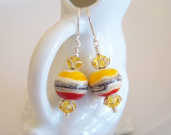 Yellow and Red-Orange Artisan Lampwork and Crystal Earrings - Item E2152