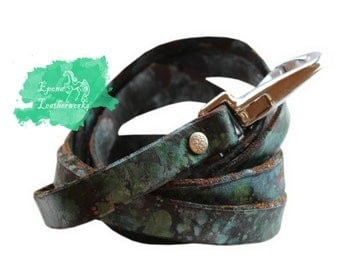 Leather Watercolor Dog Leash  -NEW COLOURS!!!!- Dog Leash - Leather Leash - Custom Size Leash - Epona Leatherworks