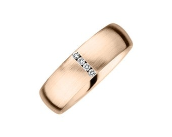 Modern Diamond & 9K/18K Rose Gold Men's Wedding Band O,P,Q,R,S,T,U,V,W,X 6.5mm