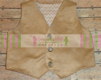 Ring Bearer Camel Faux Suede Vest READY to SHIP Boys Size 10 Country Rustic Wedding