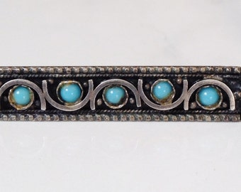 Vintage Israeli Sterling Silver Turquoise Petit Point Pin Hallmarked