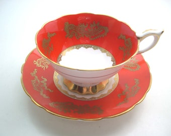 Antique Royal Stafford with dragons, Red and Gold Tea Cup & Saucer, Royal Stafford dragons tea cup and saucer.