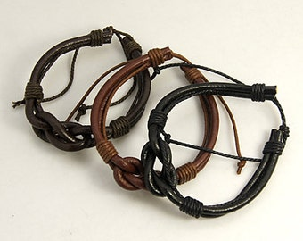 Leather Infinity Knot Bracelet, Infintity Knot Bracelet, Unisex Leather Bracelet, Multi strand leather bracelet