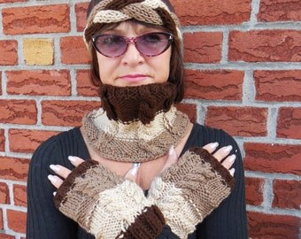 Latte Cream and Brown Bandana, knit headband