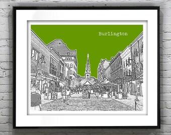 Burlington Vermont Skyline Art Print Poster  Original Church Street version 2