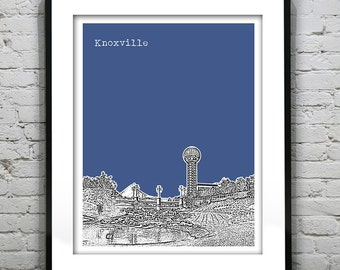 Knoxville Poster Tennessee Art Print Skyline Sunsphere Version 3