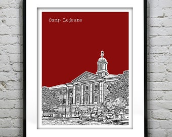 Camp Lejeune Skyline Poster Art Print