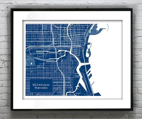 Milwaukee Blueprint Map Poster Art Print Wisconsin Wi Several