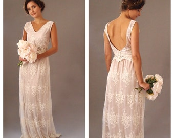 KATIE - Lace bridal gown - ivory and blush backless bohemian dress woodland wedding
