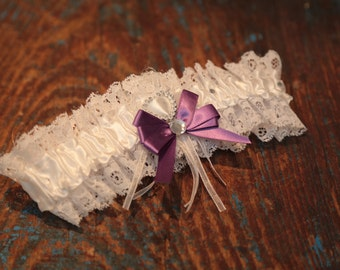 Brides Wedding Garter - With Hand Made Bow - Purple Wedding Garter (All Colours Available)
