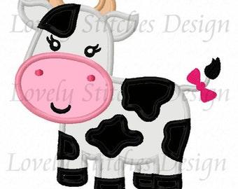 Girl Cow Applique Machine Embroidery Design NO:0507