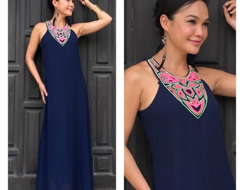 Navy blue chiffon  maxi dress one size fits XS S M