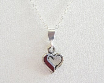 Red Open Heart Sterling Silver Pendant Charm and Necklace