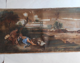 vintage original oil painting, man and woman resting in the forest, romantic scene