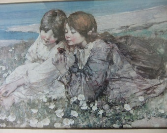 2 Prints Seashore Roses and Music of the Woods Pair of Woodland Framed Portraits  by Hornel