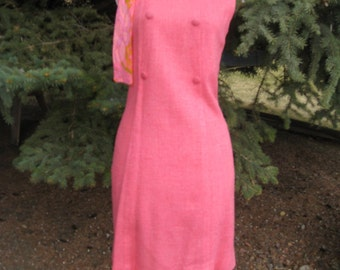 1960s-70s Womens Raspberry Sherbet Pink Shift/Sheath Dress With Psychedelic  Matching Scarf/ Bridal/ Easter/ Graduation/ Party Dress Size M