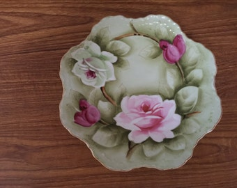Vintage Lefton China Pink Roses Decorative Porcelain Wall Plate Hand Painted Pink Roses #119