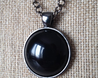 Black Onyx and gunmetal chain necklace